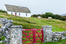 Typical Irish Cottage House With Thatched Roof And Stone Wall With Red Fence On The Aran Islands, A Group Of Three Islands Located At The Mouth Of Galway Bay, On The West Coast Of Ireland.