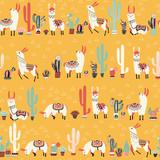 Happy lama seamless pattern - 189548962