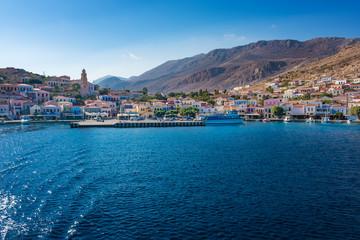 View of port of town Emporio (Nimborio)  - capital of island of Halki (GREECE)