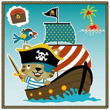 Adorable Pirate Cartoon On Sailboat