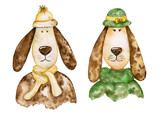 Pair of stylish dogs with long ears. Portraits. Watercolor set. - 189568724