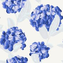 Seamless Pattern, Blue Hydrang...