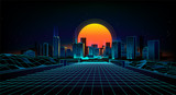 Fototapeta City - Retro background  landscape 1980s style.  Retro 80s Sci-Fi background city Landscape.Futuristic background retro wave.