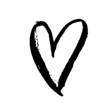 Grunge Hand Drawn Ink Heart. V...