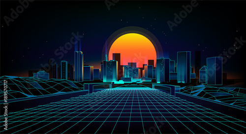 Foto op Canvas Zwart Retro background landscape 1980s style. Retro 80s Sci-Fi background city Landscape.Futuristic background retro wave.