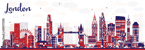 Fotografie, Obraz  Abstract London England City Skyline with Color Buildings.