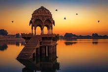 Ancient Temple At Gadi Sagar (Gadisar) Lake Jaisalmer Rajasthan, India At Dawn.