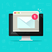 New Email Or Mail Notice On Computer Vector, Flat Cartoon Of Desktop Pc, E-mail Envelope Notification Received And Browser, Newsletter Message, Electronic Digital Letter On Screen Isolated Icon