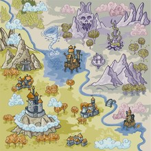 Fantasy Advernture Map Elements With Colorful Doodle Hand Draw In Vector Illustration - Map3