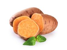 Slices Sweet Potato Isolated O...