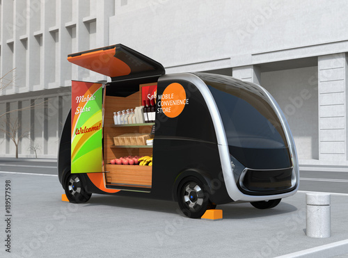 self driving vending car parking on the street the vending car is