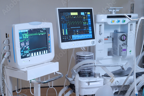 Photo  equipment and medical devices in modern operating room