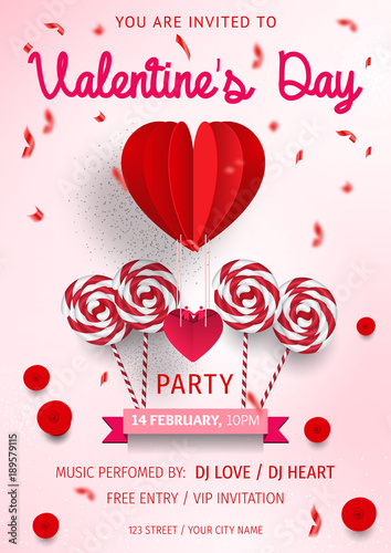 Happy Valentine S Day Party Flyer Love Invitation Card