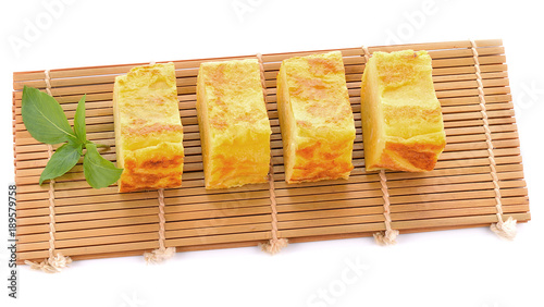 Egg roll (Japanese style) isolated on white background