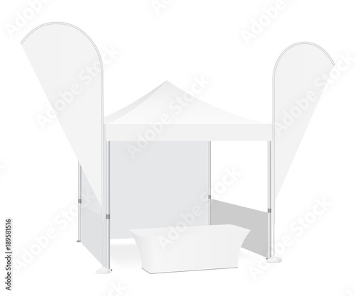 Obraz na płótnie Trade show booth display stand - tent canopy, feather flags and demonstration table