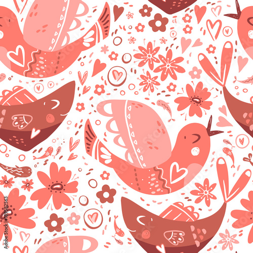 Folk romantic ornament with flower, fish and bird. Seamless patt © dinkoobraz