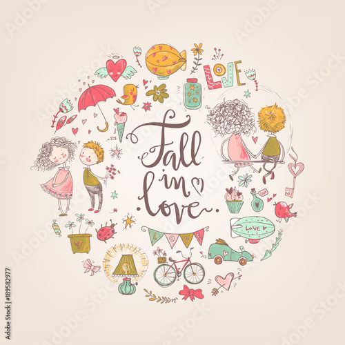 Fototapety, obrazy: Cute fall in love illustration. Nice romantic isolated elements.