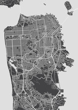 San Francisco City Plan, Detailed Vector Map