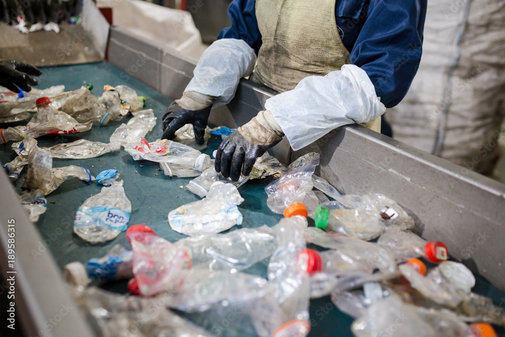 Fototapety, obrazy: production line for the processing of plastic waste in the factory