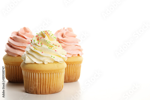 Cupcakes with cream isolated on white Canvas Print