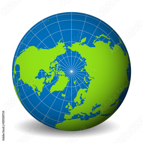 Earth globe with green world map and blue seas and oceans ...