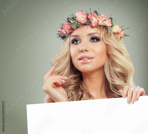 Cute Blonde Woman With Blonde Curly Hair Holding White Paper Banner Background Buy This Stock Photo And Explore Similar Images At Adobe Stock Adobe Stock