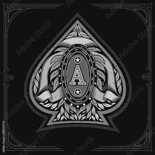 Ace of spades form with oval frame between laurel wreth and ribbon inside Canvas Print