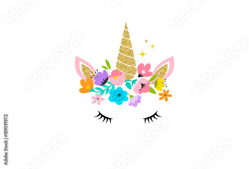 Unicorn head with flowers - card and shirt design Wallpaper Mural