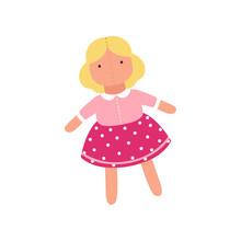Cute Soft Doll Toy, Stuffed Sewing Toy Cartoon Animal Vector Illustration