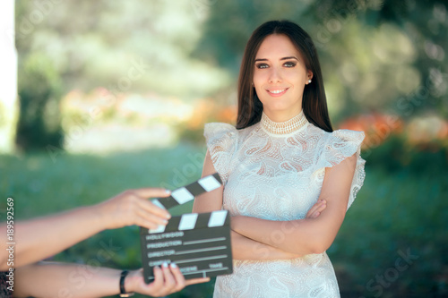 Photo Smiling  Actress Auditioning for Movie Film Video Casting