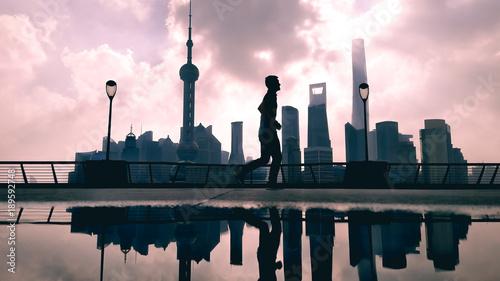 Silhouette Of Morning Run At The Bund Huangpu Riverside Shanghai