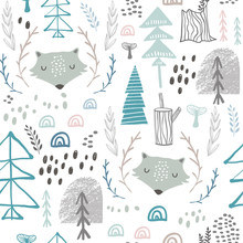 Seamless Woodland Pattern With Wolf Heads. Creative Height Detailed Background. Perfect For Kids Apparel,fabric, Textile, Nursery Decoration,wrapping Paper.Vector Illustration