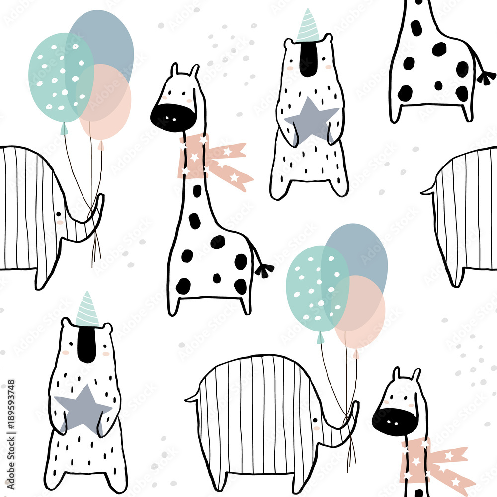 Seamless pattern with hand drawn giraffe, elephant, bear and party elements Canvas Print