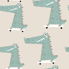 Seamless pattern with crocodile on skateboard. Creative bay animals background. Perfect for kids apparel,fabric, textile, nursery decoration,wrapping paper.Vector Illustration