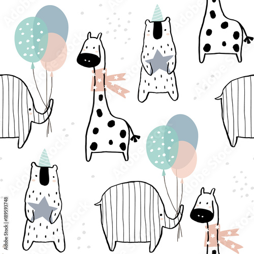 Valokuva  Seamless pattern with hand drawn giraffe, elephant, bear and party elements