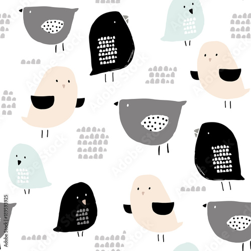 Cotton fabric Seamless pattern with hand drawn tiny birds. Trendy scandinavian vector background. Perfect for kids apparel,fabric, textile, nursery decoration,wrapping paper