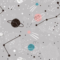 Panel Szklany Kosmos Seamless pattern with stars, constellations, planets and hand drawn elements. Childish texture. Great for fabric, textile Vector Illustration