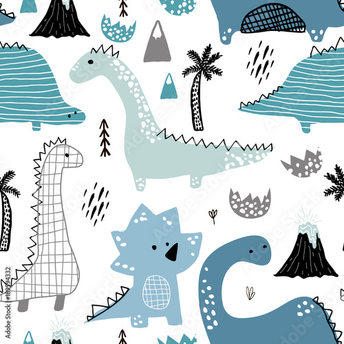 Cotton fabric Childish seamless pattern with hand drawn dino in scandinavian style. Creative vector childish background for fabric, textile