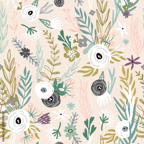 obraz lub plakat Seamless pattern with hand drawn flowers. Creative botanical background. Perfect for kids apparel,fabric, textile, nursery decoration,wrapping paper.Vector Illustration