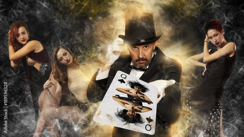 Magician in top hat showing trick Canvas Print