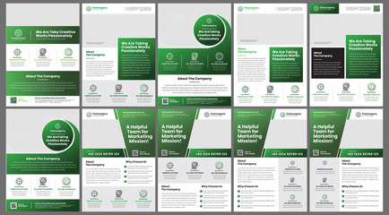 A4 professional flyer bundle with dark green gradient colored perfect for business coorporate agency or any marketing needs