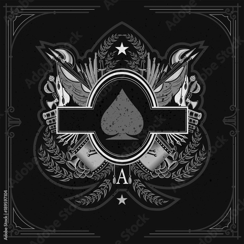 Photo Oval frame in center of vintage weapon and military elements inside of ace of spades form