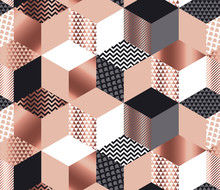 Luxury Geometric Shapes Mosaic In Rose Gold, Gray, White And Black Colors. Geometry Cube And Hexagon Seamless Pattern.