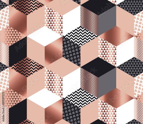 luksusowa-mozaika-geometrycznych-ksztaltow-w-kolorach-rozowego-zlota-szarosci-bieli-i-czerni-geometria-szescianu