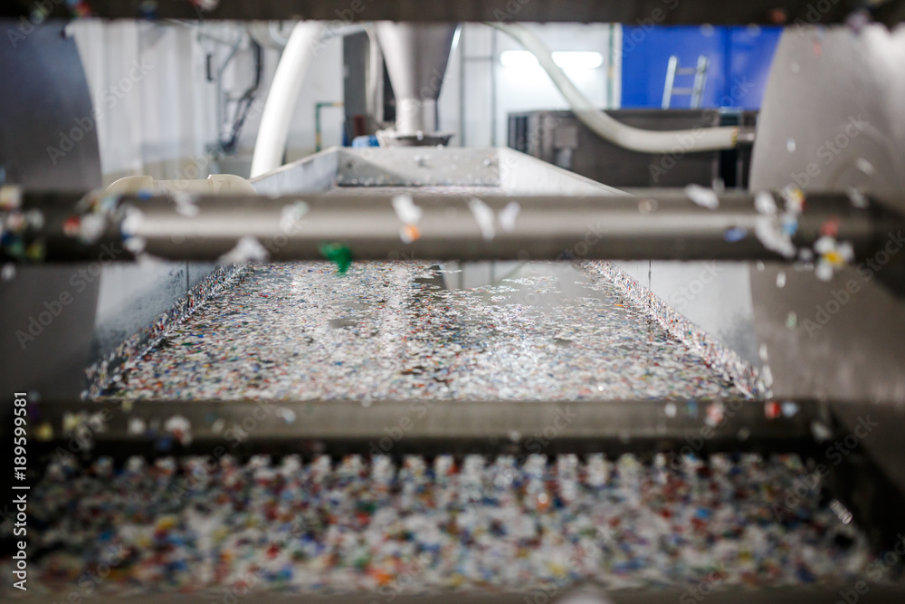 Fototapeta recycled plastic bottles and waste at the plant