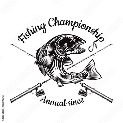 Salmon Fish Bend Silhouette With Crossed Fishing Rod In Engrving Style Logo For Fishing Championship And Sport Club On White Buy This Stock Vector And Explore Similar Vectors At Adobe Stock