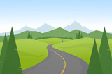 Vector illustration: Cartoon mountains landscape with road.
