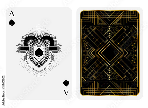 Photo  Ace of spades in line style shield face and back with golden art deco gatsby pattern style on black suit