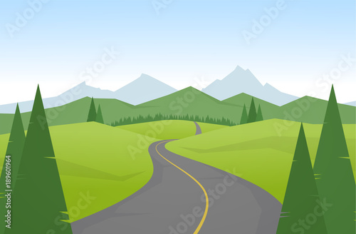Tuinposter Blauwe hemel Vector illustration: Cartoon mountains landscape with road.