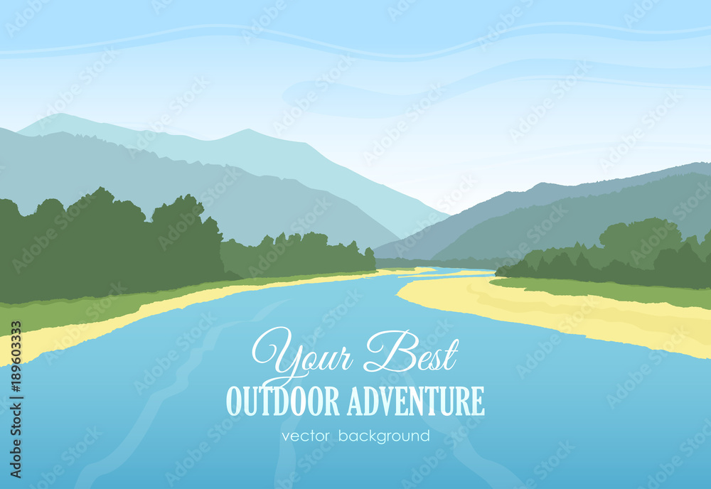 Fototapety, obrazy: Vector illustration: Mountains landscape with river, forest and sky